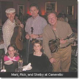 Mark, Rick, and Shelby at Camerellis. (c) The Pendleton Family Fiddlers