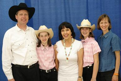 Marina, Jana, Virginia, Emma Jane, and Scott at the 2006 American Heritage Music Festival in Grove, OK. (c) The Pendleton Family Fiddlers