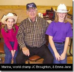 Marina, world champ JC Broughton, and Emma Jane. (c) The Pendleton Family Fiddlers