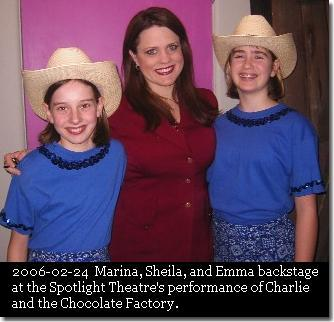 Marina, Sheila Alley, and Emma Jane backstage at the Spotlight Theatre's performance of Charlie and the Chocolate Factory. (c) The Pendleton Family Fiddlers